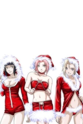 Santa Girls iPhone Wallpaper