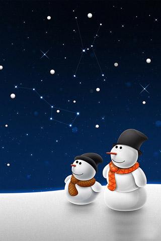 Snowmen iPhone Wallpaper