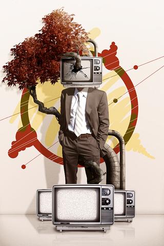 Broken TV Face iPhone Wallpaper
