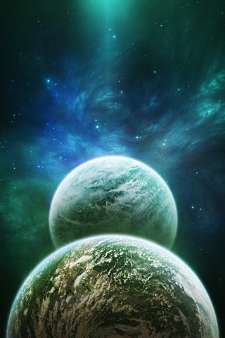 Two Planets iPhone Wallpaper