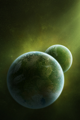 Green Planets iPhone Wallpaper