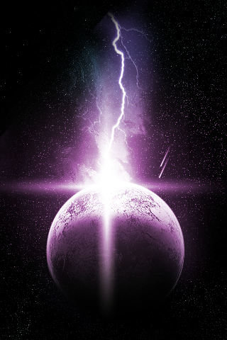 Lightning + Planet iPhone Wallpaper