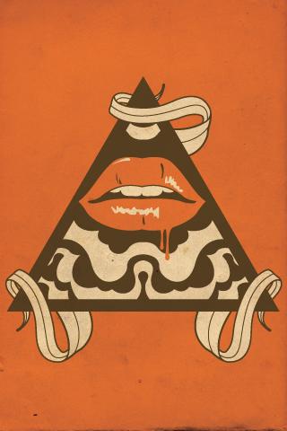 Pyramid + Lips iPhone Wallpaper