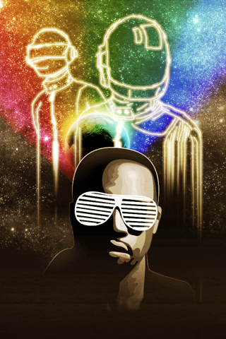 Kanye West x Daft Punk iPhone Wallpaper