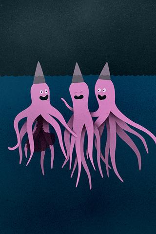 Octopus + Ink iPhone Wallpaper