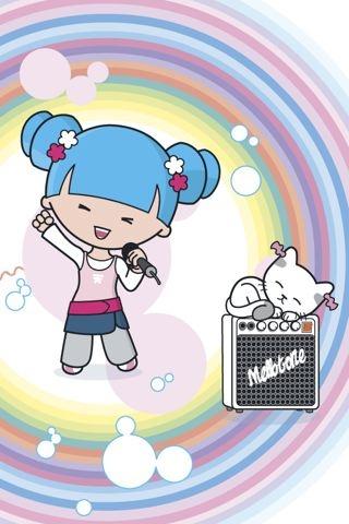 Girl n Kitty iPhone Wallpaper