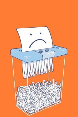 Sad Paper Shredder iPhone Wallpaper