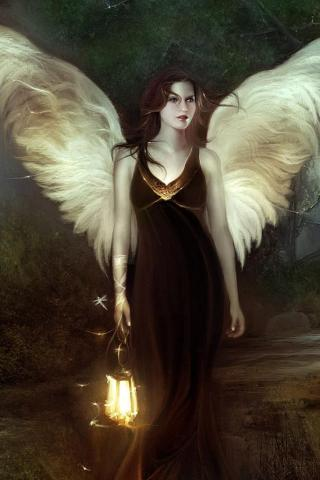 Dark Angel Girl iPhone Wallpaper