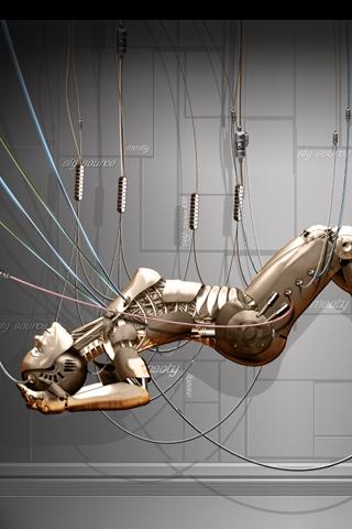 Recharging Cyborg iPhone Wallpaper