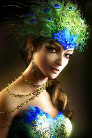 Peacock Princess iPhone Wallpaper