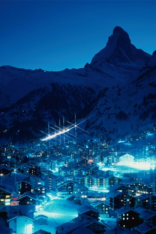 Ski Resort At Night IPhone Wallpaper