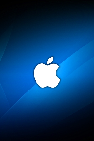 Blue Apple Logo iPhone Wallpaper