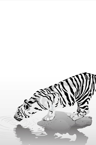 White Tiger Vector iPhone Wallpaper