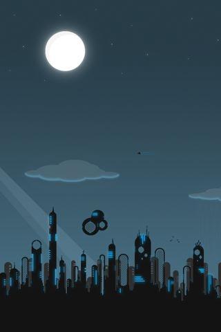 Full Moon City iPhone Wallpaper