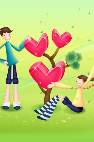 Valentines Heart Tree iPhone Wallpaper
