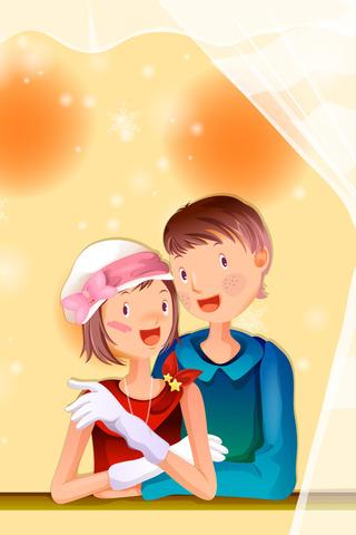 Boy & Girl Vector iPhone Wallpaper