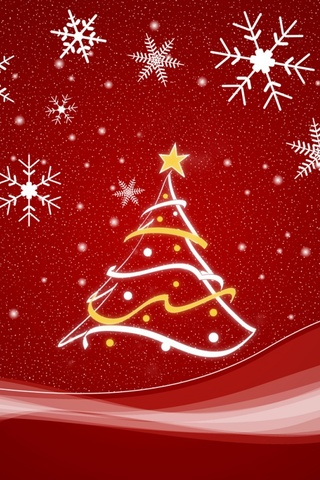 Red Shristmas Tree iPhone Wallpaper