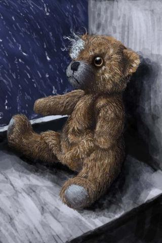 Torn Teddy Bear iPhone Wallpaper