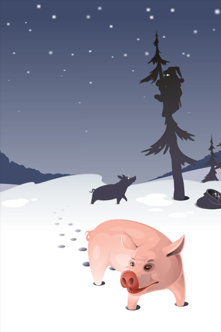 Winter Swine iPhone Wallpaper