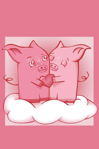 Pigs in Love iPhone Wallpaper
