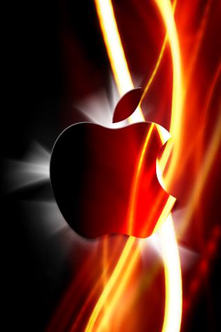 Glowing Red Apple Logo iPhone Wallpaper