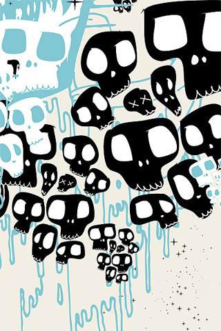 Abstract Vector Skulls iPhone Wallpaper