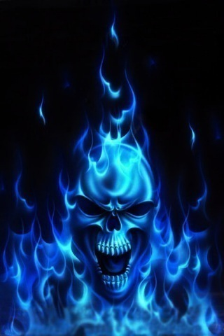 Blue Flaming Skull iPhone Wallpaper