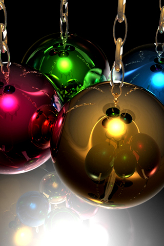 Colorful Christmas Ornaments iPhone Wallpaper