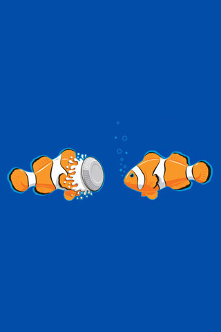 Clown Fish Battle iPhone Wallpaper