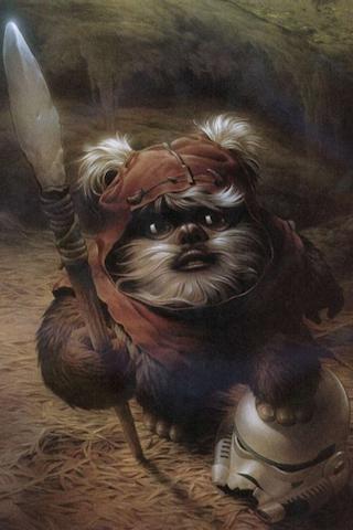 Star Wars - Ewok Painting iPhone Wallpaper