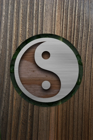 Wooden Ying Yang iPhone Wallpaper