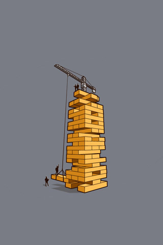 Jenga Construction iPhone Wallpaper