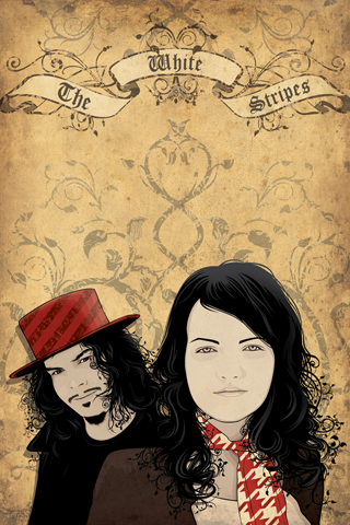 The White Stripes Vector Portrait iPhone Wallpaper
