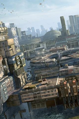 3D Futuristic City iPhone Wallpaper