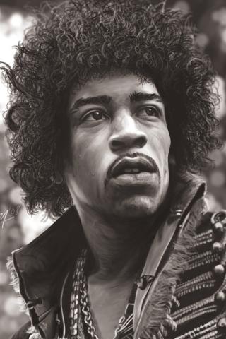 Jimi Hendrix Drawing iPhone Wallpaper