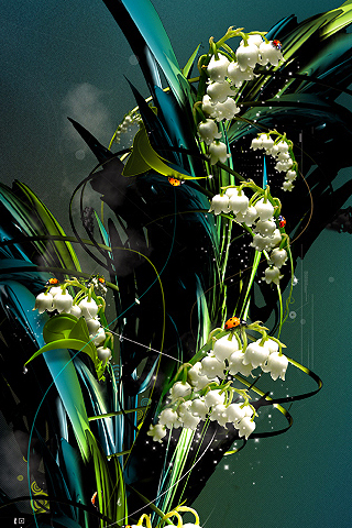 Abstract Flowers iPhone Wallpaper