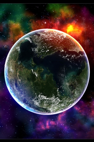 Colorful Planet Earth iPhone Wallpaper