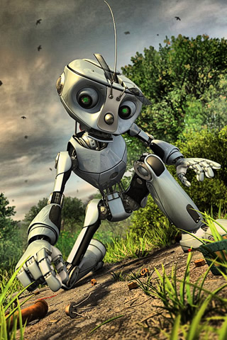 3D Silver Robot iPhone Wallpaper