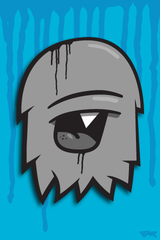 Grey Pacman Character IPhone Wallpaper