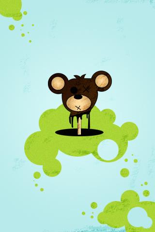 Bear on a Stick iPhone Wallpaper