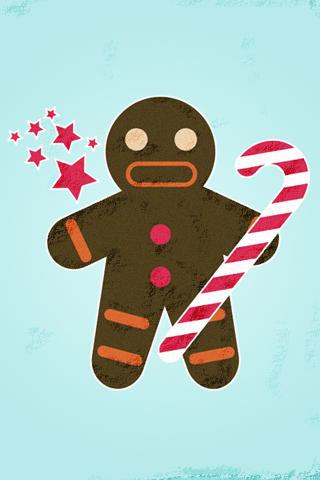 Gingerbread Man iPhone Wallpaper