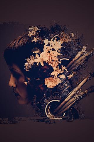 Abstract Grunge Flower Head iPhone Wallpaper