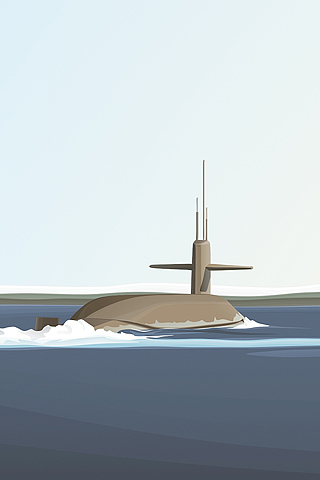 Submarine Vector iPhone Wallpaper