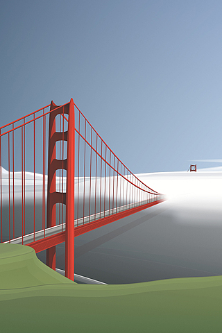 San Francisco - Golden Gate Bridge Vector iPhone Wallpaper