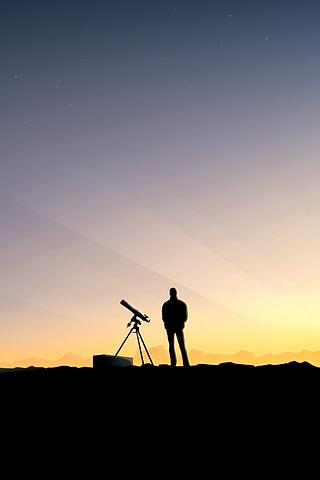 Telescope Man Silhouette iPhone Wallpaper