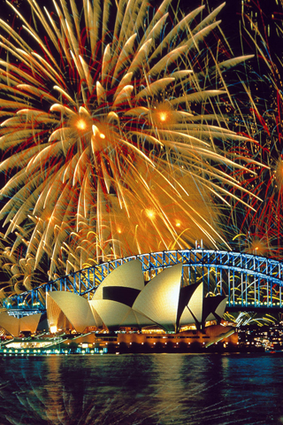 Opera House Fireworks iPhone Wallpaper