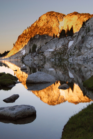 Golden Mountain Reflection iPhone Wallpaper