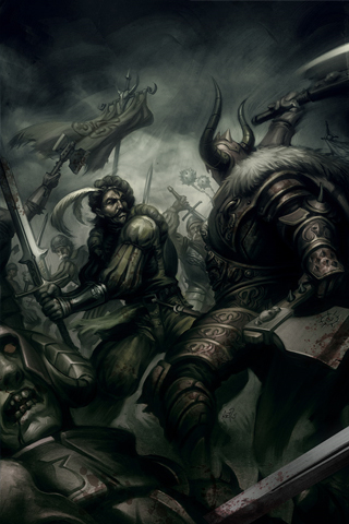 Dark Battle Painting iPhone Wallpaper