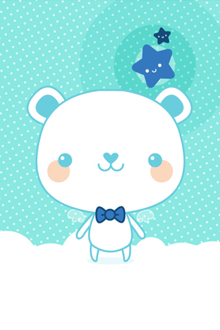 Cute Blue Bear iPhone Wallpaper
