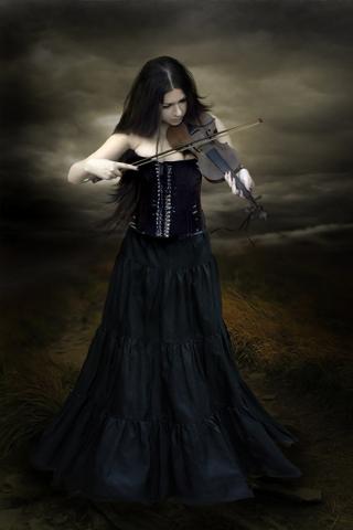 Dark Violin Player iPhone Wallpaper